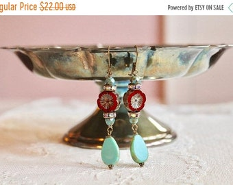 30% OFF SALE Ruby red and turquoise picasso bead layered earrings, rhinestone and bronze accents, boho chic earrings, Barcelona