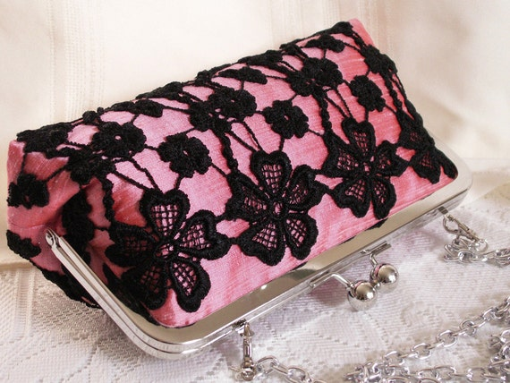 Handmade lace embellished silk clutch handbag. Pink, black. SHADOW by Lella Rae on Etsy