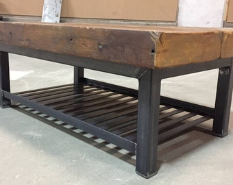 Chunky Reclaimed Pine Coffee Table/ Media Center