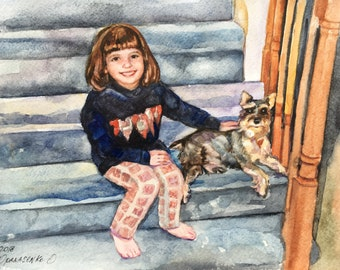 Custom Portrait painting from photo Baby Portrait Family Child Pet Portrait watercolor art commission fathers day gift family illustration