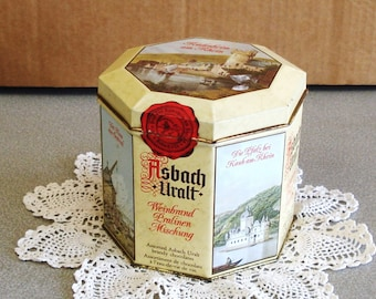 Vintage ASBACH CO Germany Decorated Tin Box.
