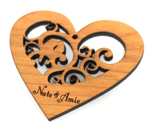 Love Birds - Wood Heart Ornament with Gift Box - Custom Engraved Sustainable Harvest Wisconsin Wood