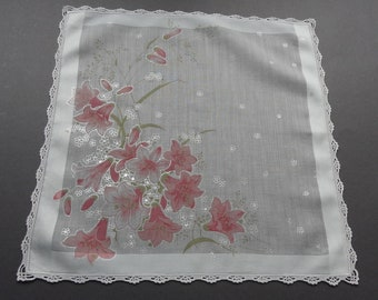 Vintage Swiss Fisba Cotton Hankie Handkerchief with Lily Pattern and Crocheted Edge