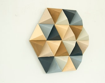 Wood Wall art geometric, hexagon, mid century wall art, unique wood art by Kasia Mc Art