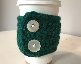 Green Crochet Coffee Cozy Sleeve