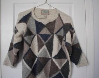 SALE!!! Vintage Wool Sweater- triangles- S/M- wool/andora rabbit hair