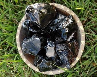 Obsidian - Black Obsidian - Rough Raw Natural Obsidian