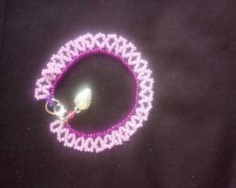 Pink and purple strawberry charm bracelet