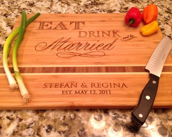 "Cutting Board,Personalized Wedding  Engraved Caribbean inlay 11""x15"" Bamboo, great wedding gift, anniversary"