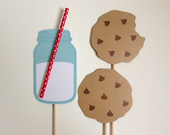 Milch und Cookies Foto Booth Requisiten. 3D Photo Booth Requisiten. Milch und Kekse. Kekse und Milch. 3D. Weihnachten. Santa. 3er-Set