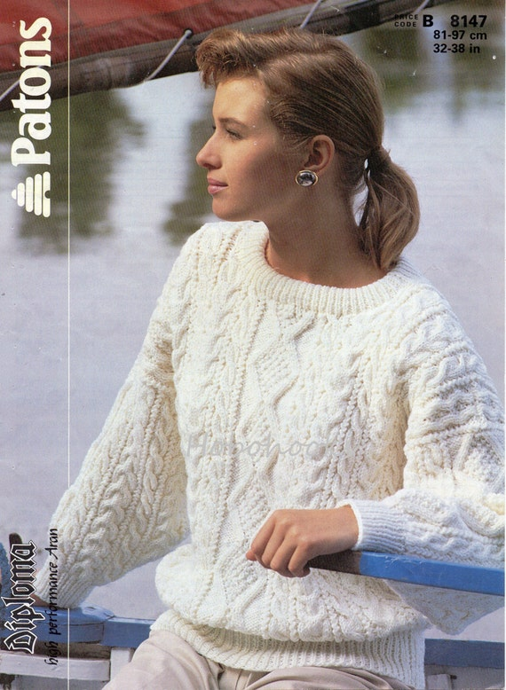 Womens Knitting Pattern Ladies Aran Sweater Womans Aran
