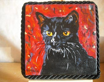"Miniature painting ""Black cat"""
