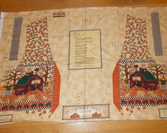 Vintage Debbie Mumm Fabric Printed Vest Panel Autumn Fall Pumpkin Patch South Seas Imports FREE SHIPPING