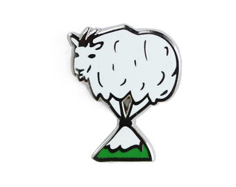 Mountain Goat  Enamel Pin - Goat Lapel Pin // Hard Enamel Pin, Cloisonné, Pin Badge