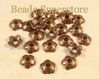 6.5 mm x 2 mm Antique Copper Flower Bead Cap - Nickel Free, Lead Free and Cadmium Free - 50 pcs