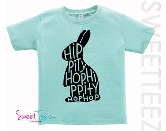 Easter Shirt For Boy Hip Hop Shirt Bunny Shirt Boy Girl Hippity Tshirt Blue Purple Kids Toddler Top Shirt