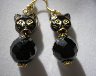 Black Fat Cat - Earring - Black/Gold