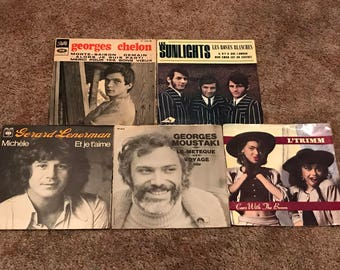 Vintage French and American 45rpm Records-Set of 5