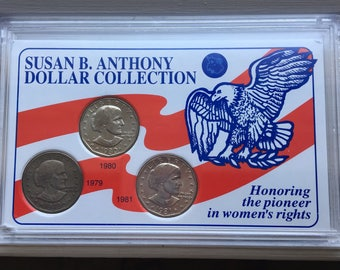 Vintage Susan B Anthony Coin Collection/gift/three coin set