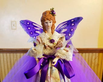 Fairy angel tree topper, handmade fairy angel, fairy doll gift, angel doll decor, Christmas angel tree topper