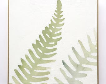 Watercolor Fern Painting / Modern Botanical Art Framed on Wood 12x12