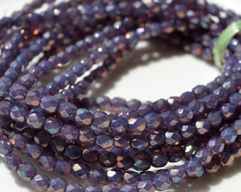 Electric Amethyst 4mm Faceted Fire Polish Round Czech Glass beads   50