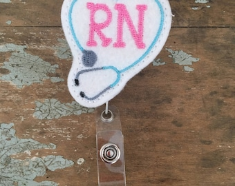 Rn stephoscope ID badge reel holder retractable clip