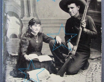 ANNIE OAKLEY & Frank BUTLER  1/6th plate tintype C 1882   Unknown Photo!
