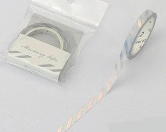 Iridescent Diagonal Stripes Washi Tape, Skinny Washi Tape, Holographic Washi Tape, Bullet Journal Slim Washi, Holo Tape, Holographic Lines