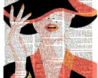 Women in orange ...Dictionary Art Print,Vintage Poster,Pop ART,drawing,Gift ideas,Wall Kitchen Office decor,Quotes,Home & Living