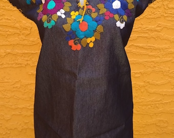 Mexican Blouse Mexican Denim Top Handmade Blouse Mexican Embroidered Blouse Peasant Blouse Sleeveless Floral Embroidery