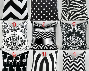 Black & White Throw Pillow Covers -18x18 inch- Mix/Match patterns pillow sham euro throw bold modern Damask Stripe Premier Prints FREESHIP