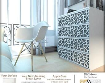Coral - Furniture Appliques - Fretwork - Overlays - Makeover - Furniture Decor - Malm, Hemnes or Custom - Lattice - Ornaments - SKU:Coral