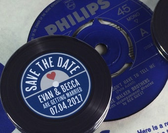 Wedding Vinyl Record Save The Date Magnets Vintage Vinyl Record Design Complete With Organza Bags - Version 4