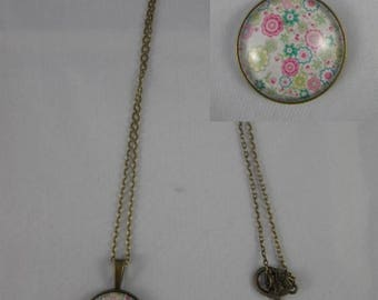 Col029 - Collier / sautoir bronze et cabochon liberty rose et vert