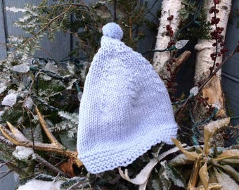Blue Pom Baby Hat