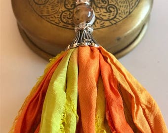 Sari Silk Tassel Necklace-Yellow & Orange Tassel-Boho Tassel Jewelry