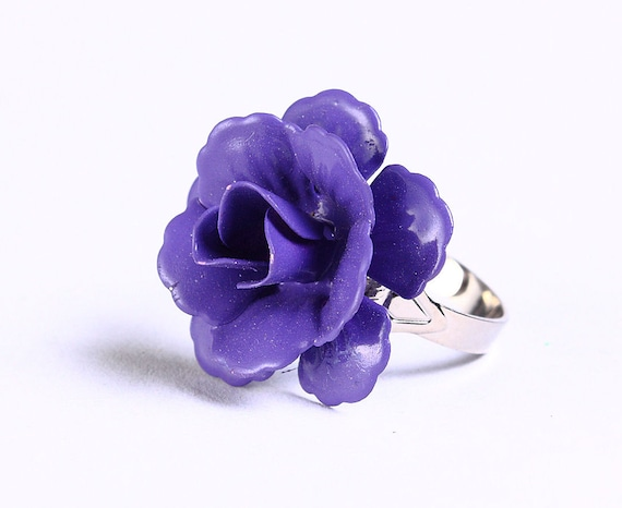 Purple mauve rosebud adjustable ring flower cocktail ring (694-12)
