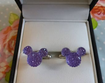 Mickey Mouse Minnie Lilac Bling Ears Cufflinks Disney Wedding Theme Groom Groomsmen Gift Present