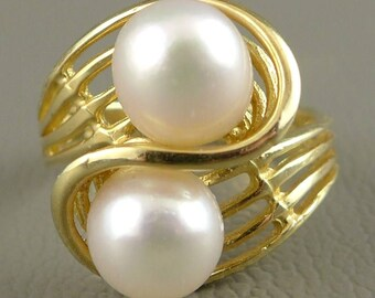 Gold Pearl Ring, Vintage 14K Gold Double Pearl Ring, Gold Bypass Pearl Ring