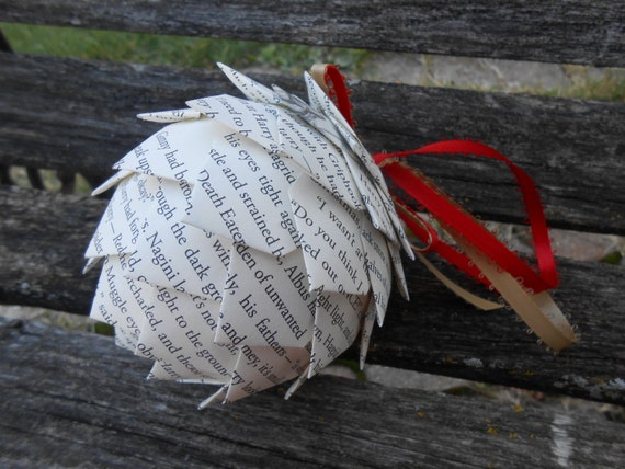 Book Paper Ornament. Holiday, Christmas Decoration.  Wedding, Gift, Birthday, First Anniversary.