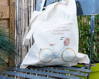 "Tote bag ""life is like a bicycle...""-citation"