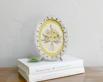 Miniature Dried Flower Art, Floral Wall Art, Table Top Artwork, Retro Framed Art Pressed Flower Collage, Gallery Wall Art, Mixed Media Art
