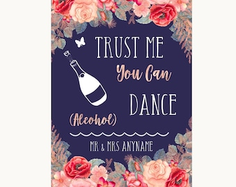 Navy Blue Blush Rose Gold Alcohol Says You Can Dance Personalised Wedding Sign