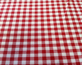 Gingham print fabric red