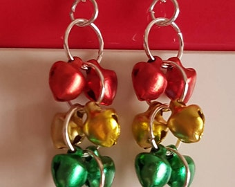 Multi-Coloured Bells Earrings Christmas New Year Party Celebration + Gift Bag