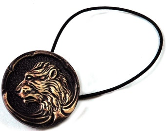 Lions Head Design Hair Accessory, Elastic Band Ponytail Holder with Regal Lion Motif, Dark Brown with Cream, Vintage Button Accessories