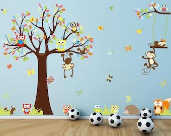Large Tree & Monkey Wall Sticker - AW1212