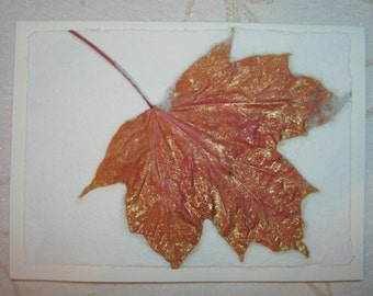 Hand Made Paper with Embedded Leaf - Blank Greeting Card