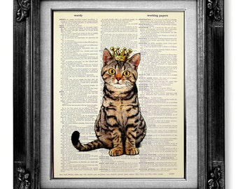 Cat Decor, CAT Painting, TABBY Cat Wall Art Cat Lover Gift, Cat Wall Decor, WHIMSICAL Cat Art, Cool Cat Artwork Cat Poster, Sitting Cat King